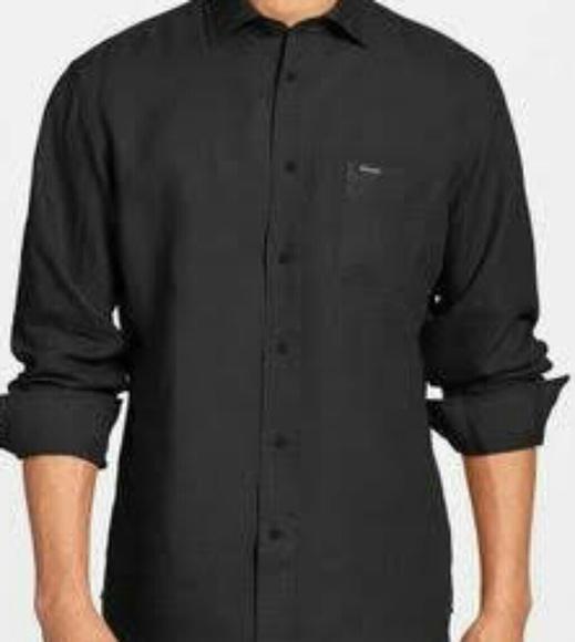 514b26ed Faconnable Shirts   Mens Black Linen Shirt Long Sleeve Xl   Poshmark